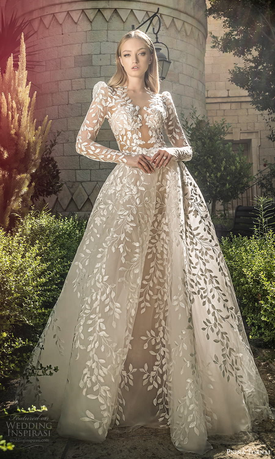 pnina tornai 2022 love bridal long puff sleeve plunging v neckline fully embellished lace a line ball gown wedding dress chapel train (1) mv
