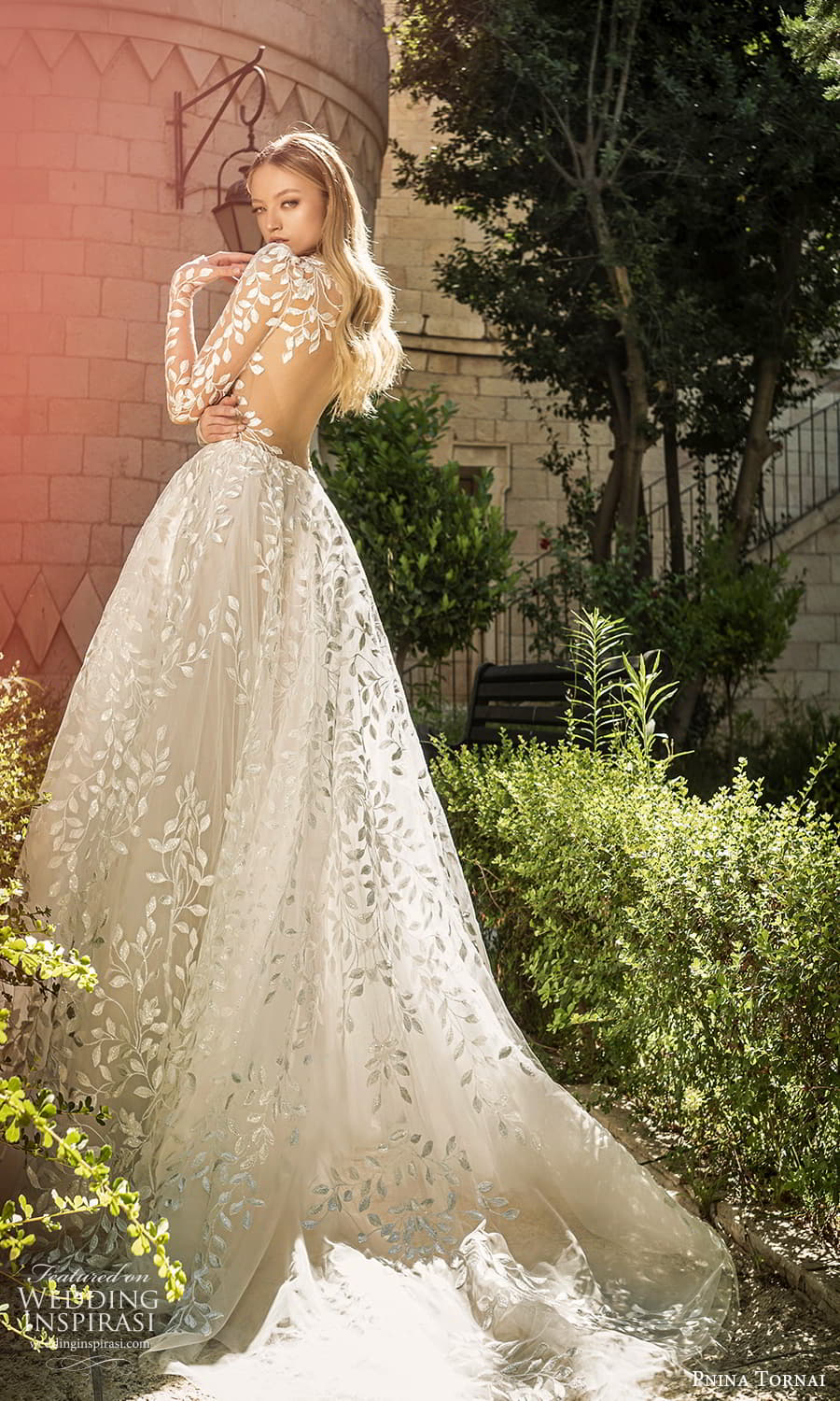 pnina tornai 2022 love bridal long puff sleeve plunging v neckline fully embellished lace a line ball gown wedding dress chapel train keyhole back (1) bv