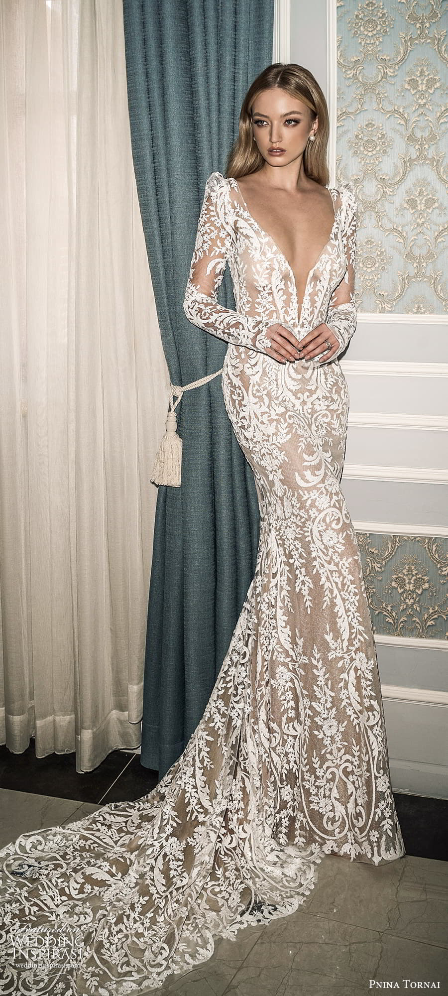 pnina tornai 2022 love bridal long puff sleeve plunging v neckline fully embllished lace sheath wedding dress chapel train (17) mv