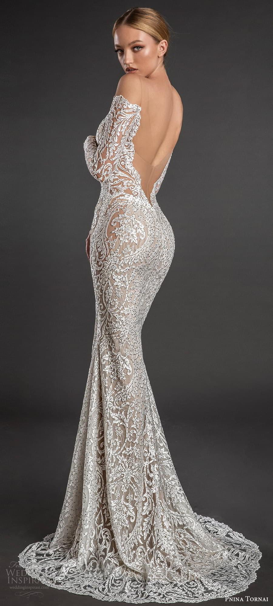 pnina tornai 2022 love bridal long sleeve off shoulder sweetheart neckline fully embellished lace sheath wedding dress chapel train (2) bv