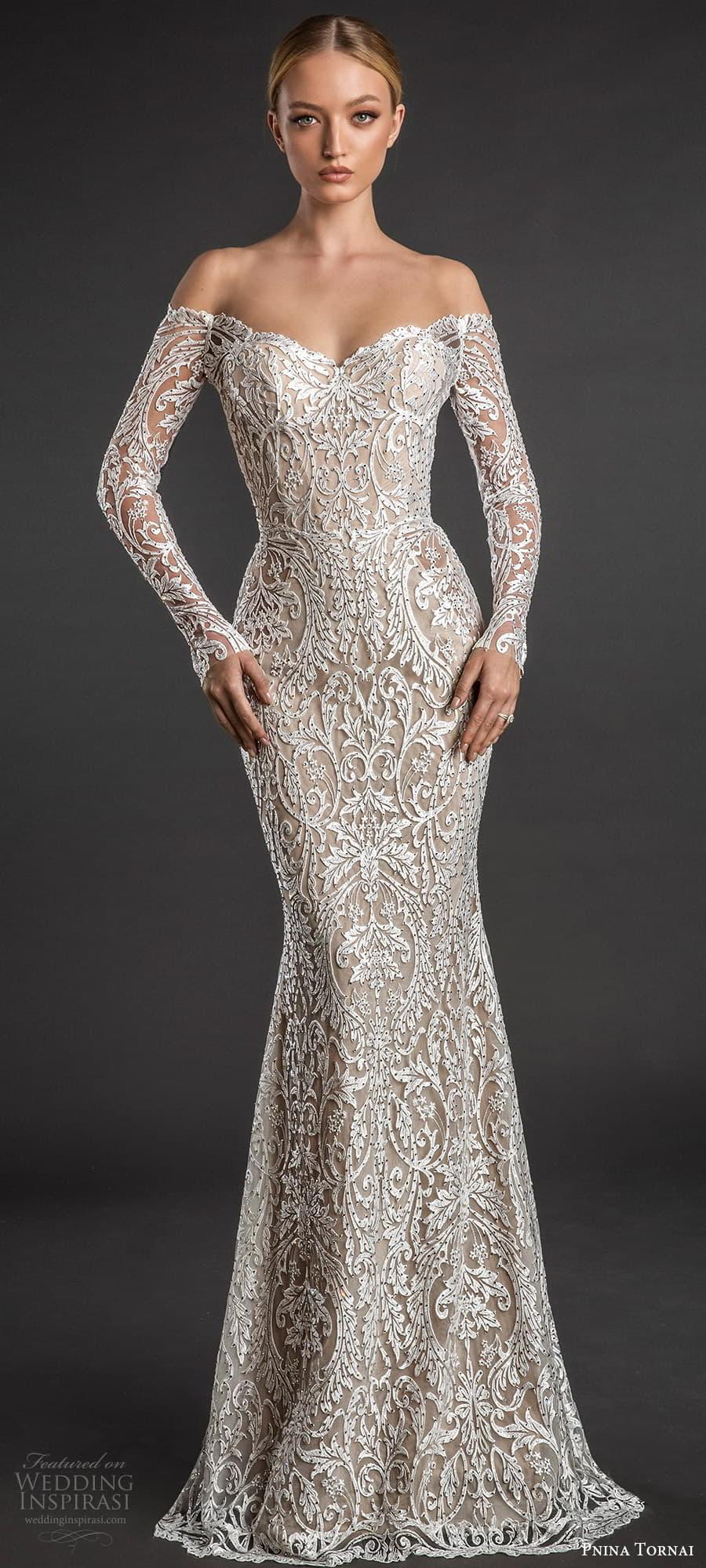 pnina tornai 2022 love bridal long sleeve off shoulder sweetheart neckline fully embellished lace sheath wedding dress chapel train (2) lv