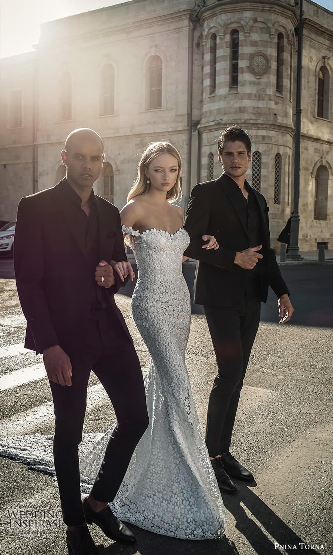 pnina tornai 2022 love bridal off shoulder straps sweetheart neckline fully embellished lace sheath wedding dress chapel train (18) mv