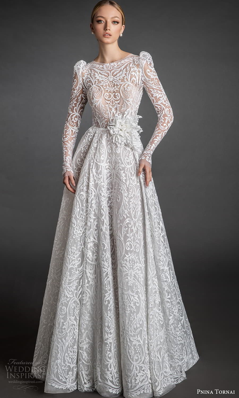 pnina tornai 2022 love bridal sheer long puff sleeve bateau neckline fully embellished lace a line ball gown wedding dress chapel train (7) fv