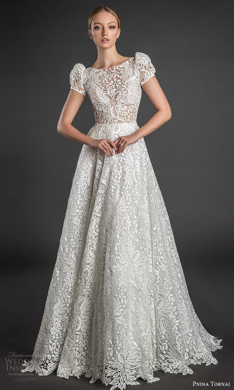 pnina tornai 2022 love bridal short puff sleeve bateaue neckline fully embellished lace a line wedding dress chapel train (6) fv