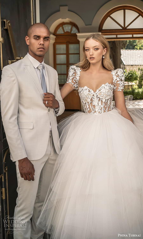 pnina tornai 2022 love bridal short puff sleeve sweetheart neckline embellished lace corset bodice a line ball gown wedding dress chapel train (8) zv