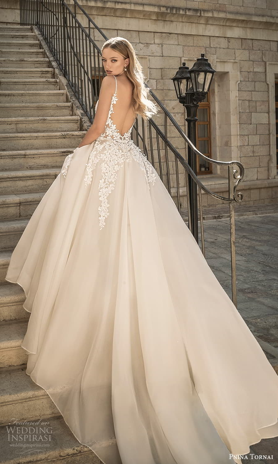 pnina tornai 2022 love bridal sleeveless straps plunging sweetheart neckline embellished bodice a line ball gown wedding dress chapel train (9) bv