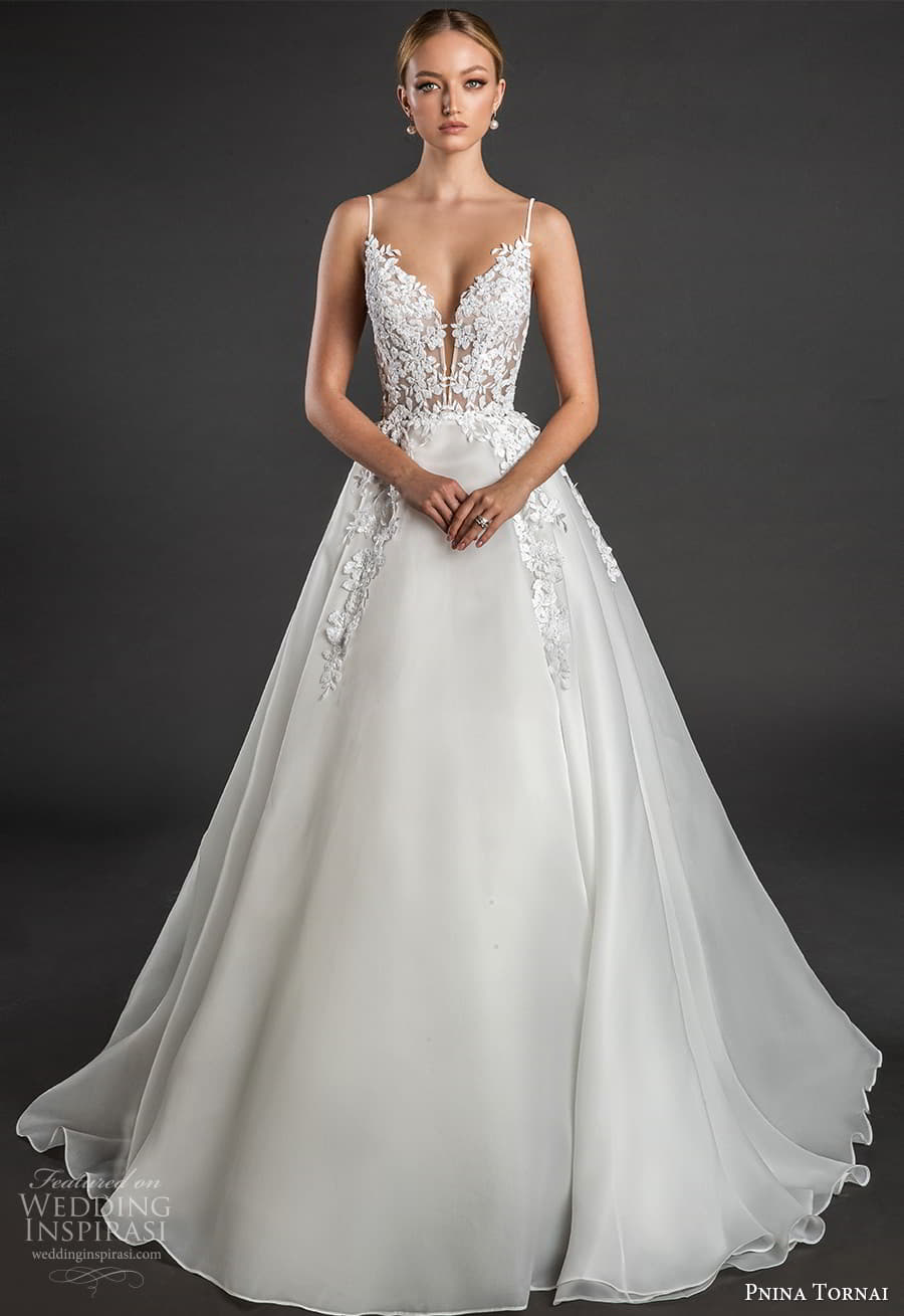 pnina tornai 2022 love bridal sleeveless straps plunging sweetheart neckline embellished bodice a line ball gown wedding dress chapel train (9) fv