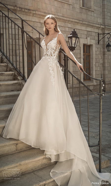 pnina tornai 2022 love bridal sleeveless straps plunging sweetheart neckline embellished bodice a line ball gown wedding dress chapel train (9) mv