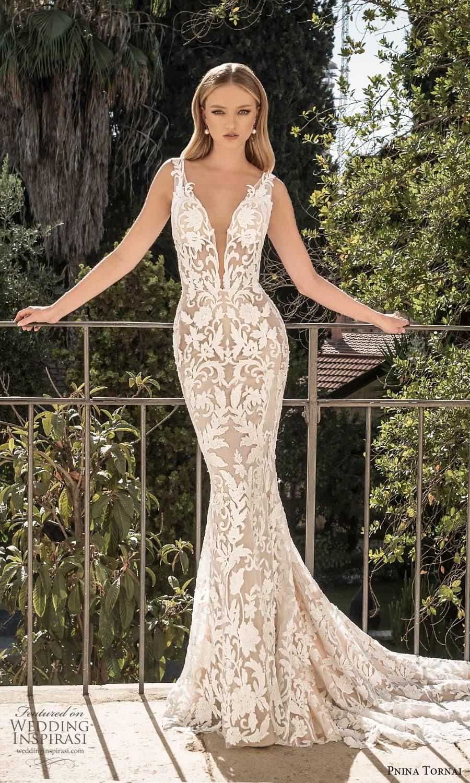pnina tornai 2022 love bridal sleeveless straps plunging v neckline fully embellished sheath wedding dress chapel train (10) mv