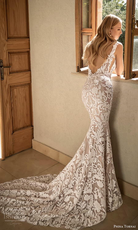 pnina tornai 2022 love bridal sleeveless straps plunging v neckline fully embellished sheath wedding dress chapel train v back (10) bv