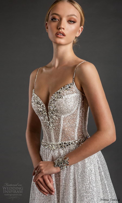 pnina tornai 2022 love bridal sleeveless straps sweetheart neckline embellished bodice a line edding dress sweep train (20) zv