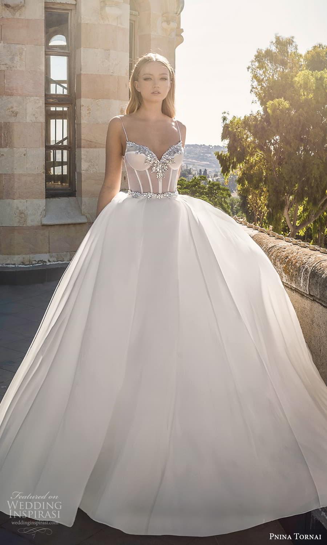 pnina tornai 2022 love bridal sleeveless straps sweetheart neckline embellished sheer corset bodice a line ball gown wedding dress chapel train (4) mv