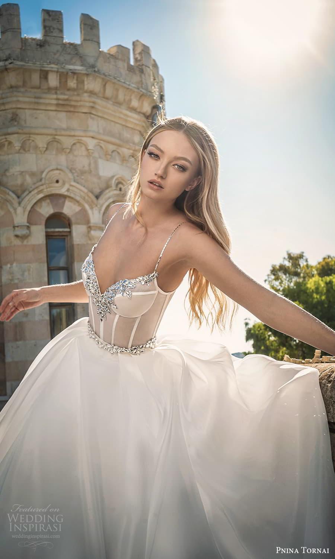 pnina tornai 2022 love bridal sleeveless straps sweetheart neckline embellished sheer corset bodice a line ball gown wedding dress chapel train (4) zv