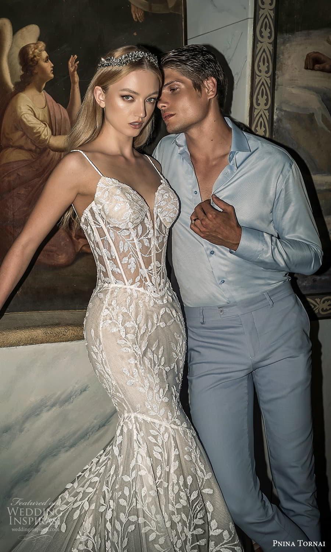 pnina tornai 2022 love bridal sleeveless straps sweetheart neckline fully embellished fit flare mermaid wedding dress chapel train (13) mv
