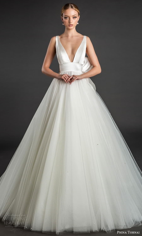 pnina tornai 2022 love bridal sleeveless straps v neckline clean minimalist a line ball gown wedding dress chapel train (19) fv