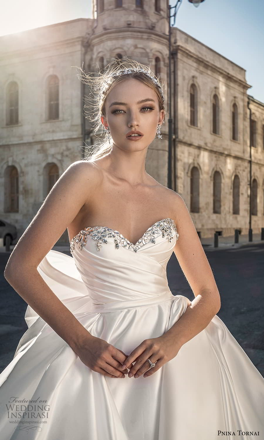 pnina tornai 2022 love bridal strapless embellished sweetheart neckline ruched bodice minimalist a line ball gown wedding dress chapel train bow back (3) zv
