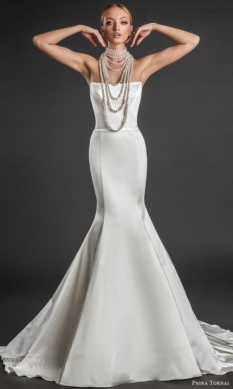pnina tornai 2022 love bridal strapless straight across neckline clean minimalist fit flare mermaid wedding dress chapel train (11) fv