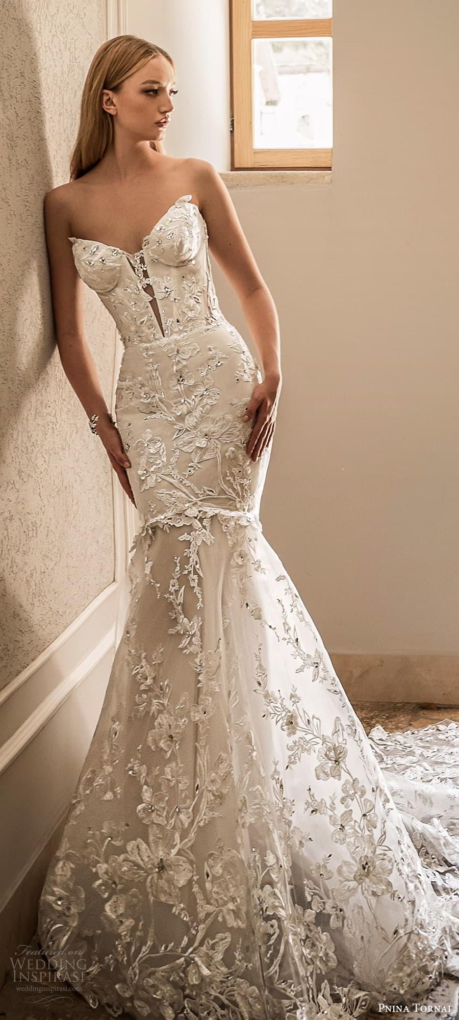 pnina tornai 2022 love bridal strapless sweetheart neckline fully embellished fit flare mermaid wedding dress chapel train (16) mv