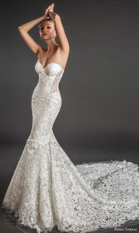 pnina tornai 2022 love bridal strapless sweetheart neckline fully embellished lace fit flare mermaid wedding dress chapel train (14) fv