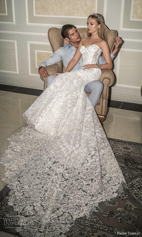 pnina tornai 2022 love bridal strapless sweetheart neckline fully embellished lace fit flare mermaid wedding dress chapel train (14) mv