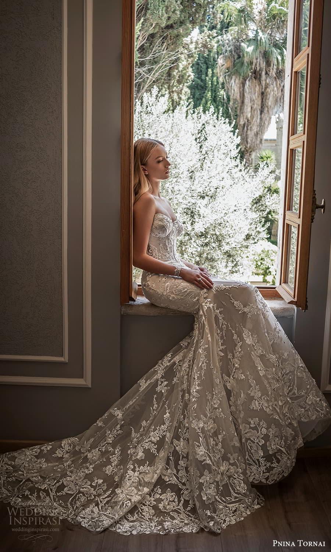 pnina tornai 2022 love bridal strapless sweetheart neckline fully embellished lace fit flare mermaid wedding dress chapel train (15) mv