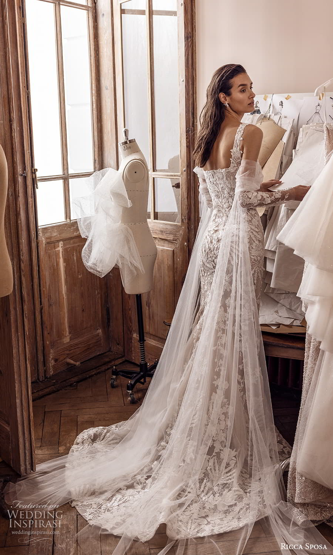 ricca sposa 2022 bridal detached long sleeve sleeveless straps sweetheart neckline fully embellished sheath wedding dress chapel train (11) bv