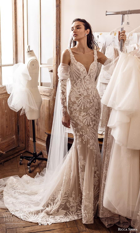 ricca sposa 2022 bridal detached long sleeve sleeveless straps sweetheart neckline fully embellished sheath wedding dress chapel train (11) mv
