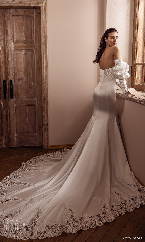 ricca sposa 2022 bridal detached puff sleeve strapless straight across clean minimalist sheath wedding dress chapel train (13) bv