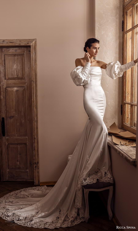 ricca sposa 2022 bridal detached puff sleeve strapless straight across clean minimalist sheath wedding dress chapel train (13) mv