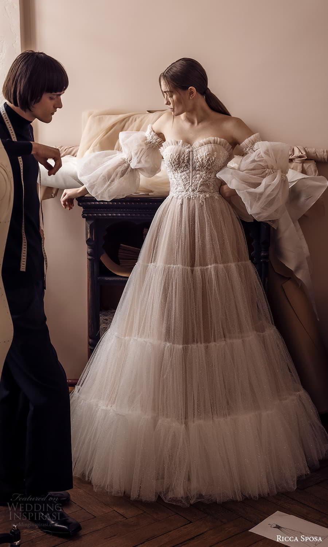 ricca sposa 2022 bridal detached puff sleeve strapless sweetheart neckline embellished bodice a line ball gown wedding dress chapel train (10) mv
