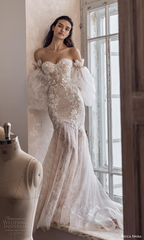 ricca sposa 2022 bridal detached puff sleeve strapless sweetheart neckline fully embellished fit flare wedding dress chapel train (15) mv