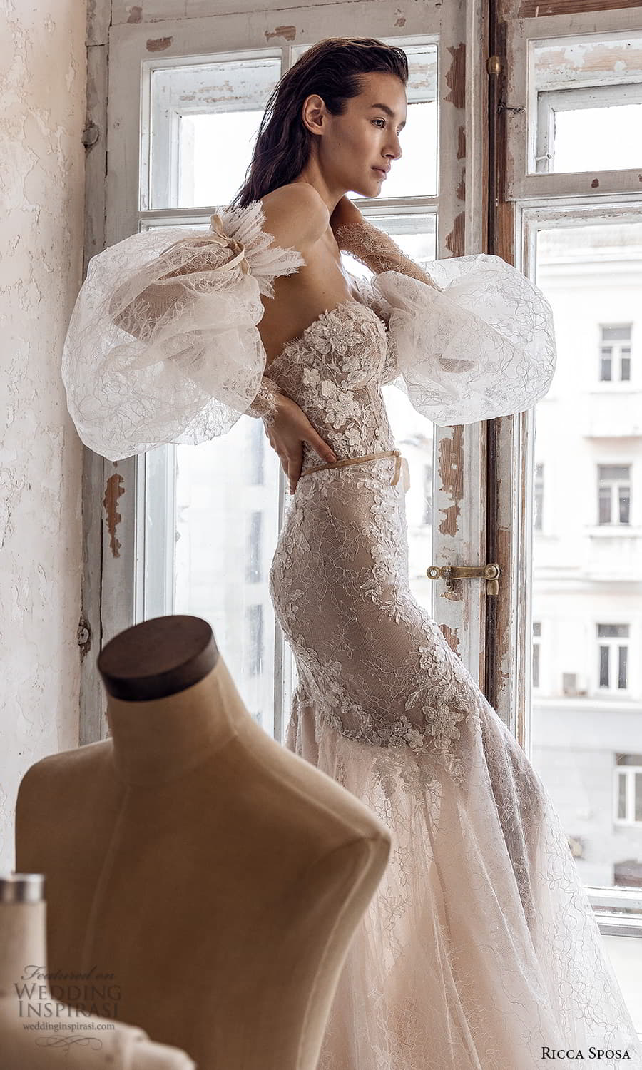 ricca sposa 2022 bridal detached puff sleeve strapless sweetheart neckline fully embellished fit flare wedding dress chapel train (15) zsv