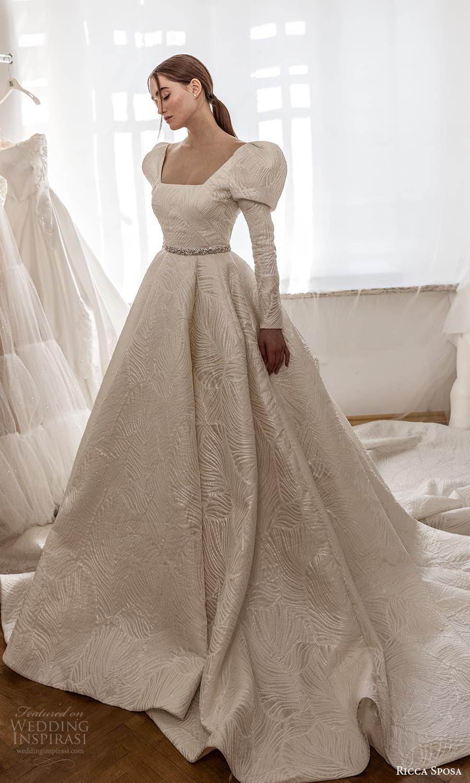 ricca sposa 2022 bridal long puff sleeve square neckline embellished waist textured a line ball gown wedding dress chapel train (20) mv