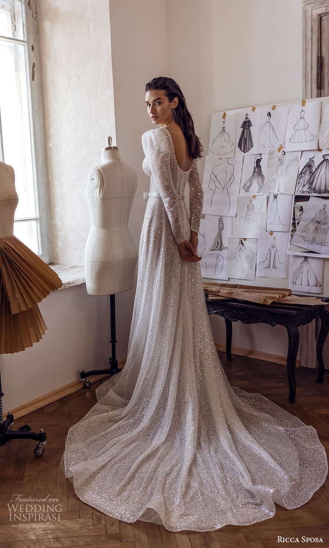 ricca sposa 2022 bridal long puff sleeve sweetheart neckline fully embellished a line wedding dress chapel train (4) bv