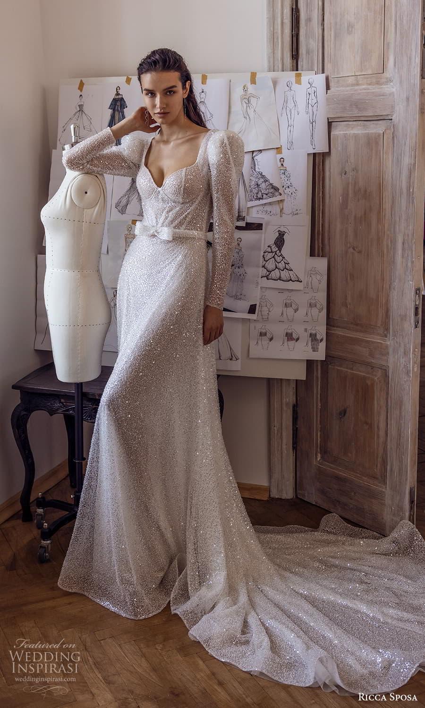 ricca sposa 2022 bridal long puff sleeve sweetheart neckline fully embellished a line wedding dress chapel train (4) mv