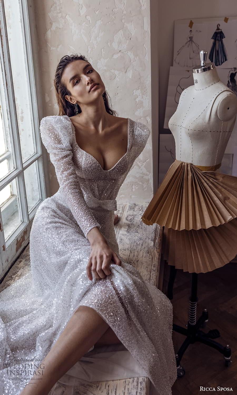 ricca sposa 2022 bridal long puff sleeve sweetheart neckline fully embellished a line wedding dress chapel train (4) zv