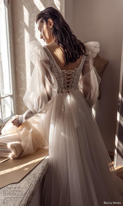 ricca sposa 2022 bridal long sheer bishop sleeve sweetheart neckline embellished corset bodice a line ball gown wedding dress chapel train (8) zbv