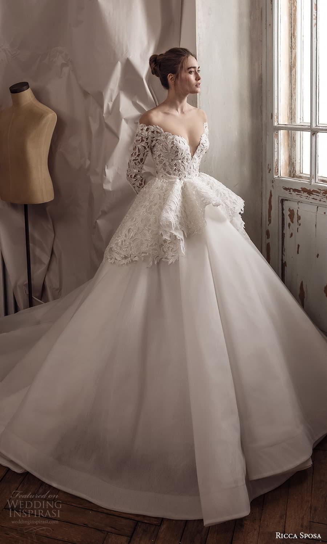 ricca sposa 2022 bridal long sleeve off shoulder neckline embellished bodice peplum a line ball gown wedding dress chapel train (30) mv