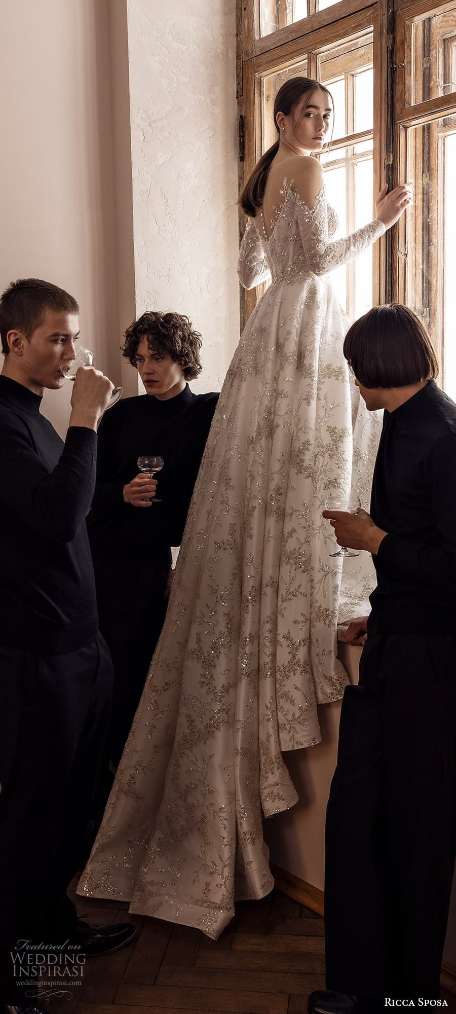ricca sposa 2022 bridal long sleeve off shoulder sweetheart neckline fully embellished a line ball gown wedding dress chapel train (28) bv