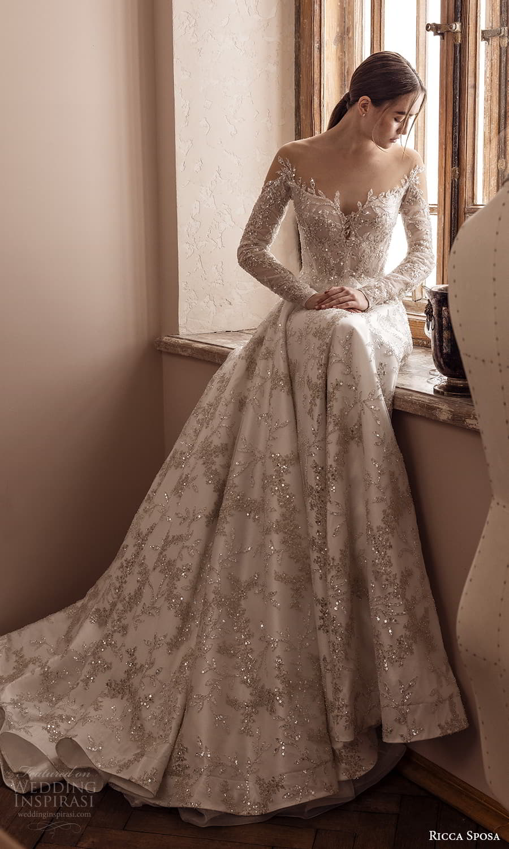 ricca sposa 2022 bridal long sleeve off shoulder sweetheart neckline fully embellished a line ball gown wedding dress chapel train (28) mv
