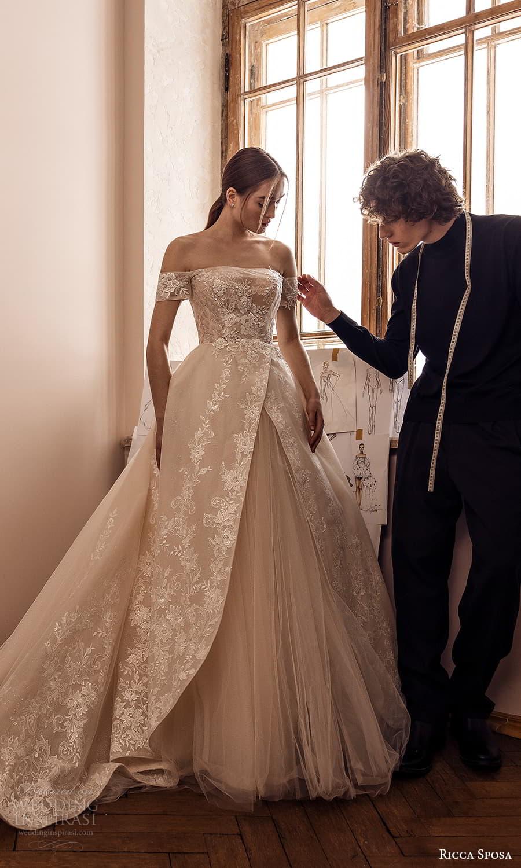 ricca sposa 2022 bridal off shoulder straps straight across neckline embellished bodice a line ball gown wedding dress chapel train (16) mv