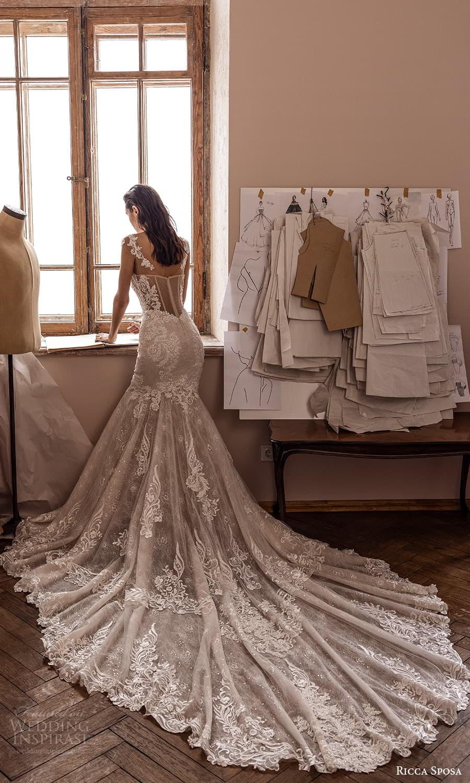 ricca sposa 2022 bridal sheer cap sleeves semi sweetheart neckline embellished bodice lace fit flare mermaid wedding dress chapel train (7) bv