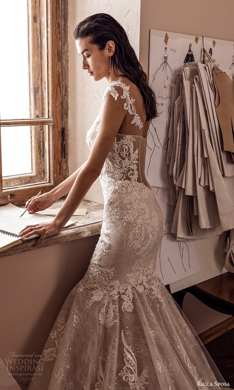 ricca sposa 2022 bridal sheer cap sleeves semi sweetheart neckline embellished bodice lace fit flare mermaid wedding dress chapel train (7) zsv