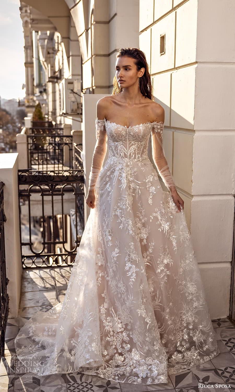 ricca sposa 2022 bridal sheer long sleeve off shoulder semi sweetheart neckline fully embellished a line ball gown wedding dress chapel train (3) mv