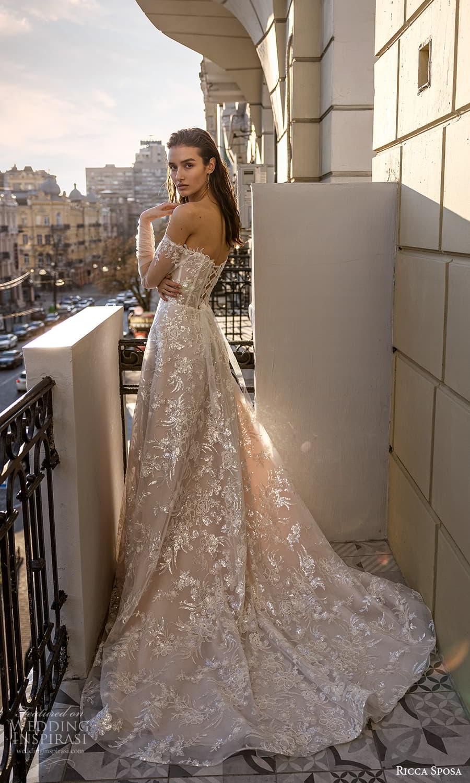 ricca sposa 2022 bridal sheer long sleeve off shoulder semi sweetheart neckline fully embellished a line ball gown wedding dress chapel train (3) sv