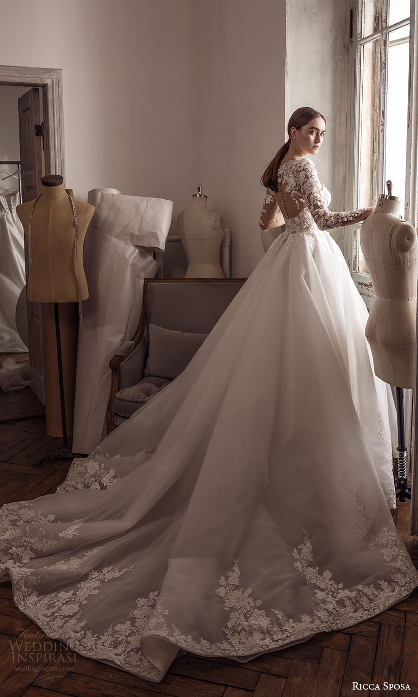 ricca sposa 2022 bridal sheer long sleeve sweetheart neckline embellished bodice a line ball gown wedding dress chapel train (12) mv