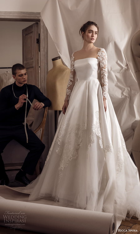 ricca sposa 2022 bridal sheer long sleeve top straight across neckline clean mininalist a line ball gown wedding dress chapel train (27) mv