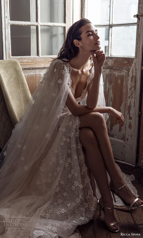 ricca sposa 2022 bridal sheer long sleeve v neckline fully embellished a line wedding dress chapel train (24) zv