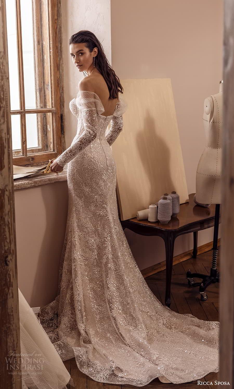 ricca sposa 2022 bridal sheer off shoulder long sleeve sweetheart neckline fully embellishe sheath wedding dress chapel train (23) bv