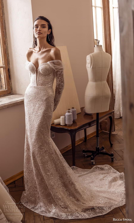 ricca sposa 2022 bridal sheer off shoulder long sleeve sweetheart neckline fully embellishe sheath wedding dress chapel train (23) mv